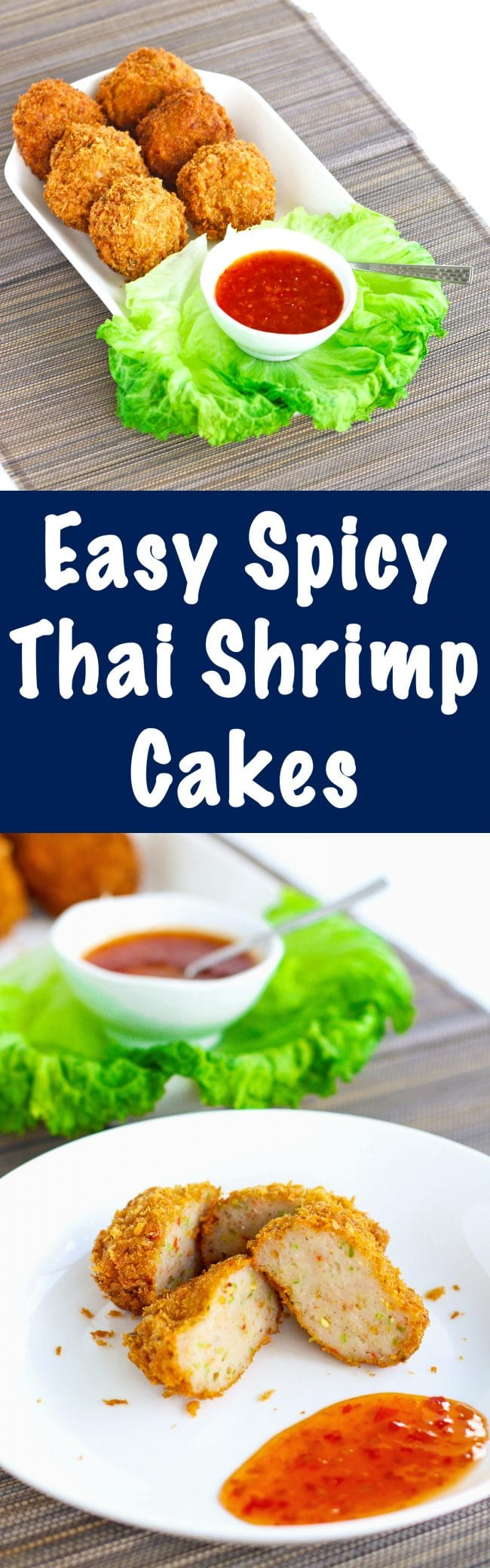 Spicy Thai Shrimp Cakes on white plate with a side of Thai sweet chili sauce