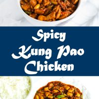 Spicy Kung Pao Chicken in a bowl over steamed white rice, and also on plate with rice to the side (Long Pin)
