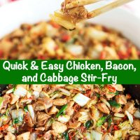 wooden chopsticks holding up a piece of chicken and cabbage. chicken, bacon, cabbage, spring onion stir-fry in wok