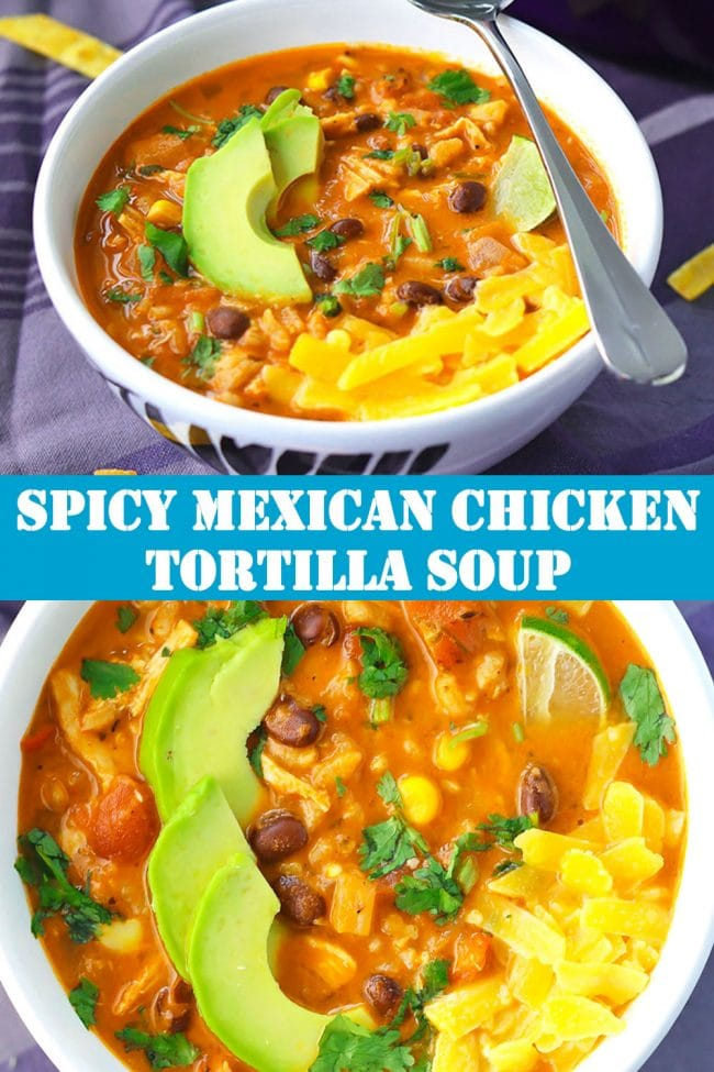 Mexican Chicken Tortilla Soup in bowl with spoon and topped with avocado, cheddar cheese, and a lime slice