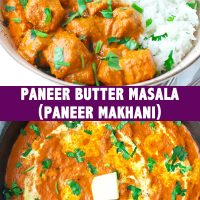 bowl with paneer curry rice and roti paratha. Skillet with orange tomato cream paneer butter curry