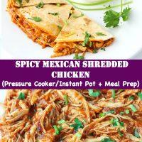 Shredded salsa chicken and chicken quesadilla on plate with coriander