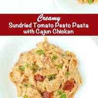Sundried Tomato Pesto Pasta with Cajun Chicken on white round plates