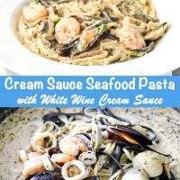 Cream Sauce Seafood Pasta on deep white round plate. Seafood and linguini in pan with creamy white sauce.