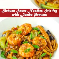 Stir-fry Sichuan Sauce Noodles with Jumbo prawns, baby corn, mushrooms, bok choy, and spring onion garnish on two white plates.