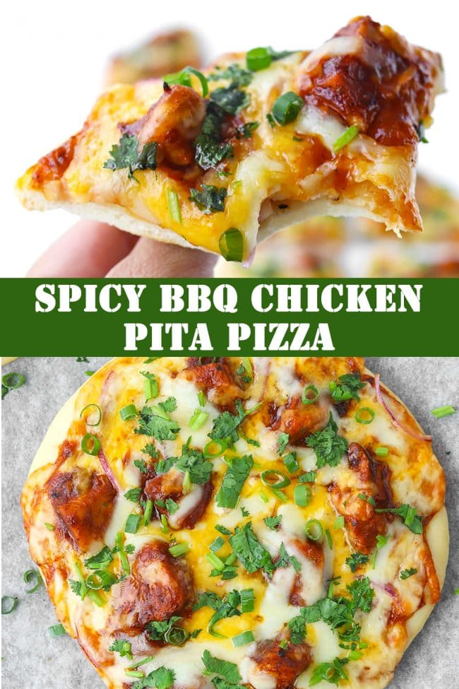 Hand holding up a slice of Spicy BBQ Chicken Pita Pizza with a bite taken out, and a full unsliced BBQ Chicken pita pizza below.
