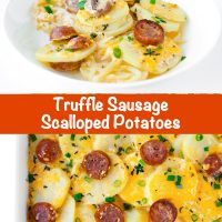 Sausage Scalloped Potatoes in a white round plate with a fork sticking out of the potatoes and a sausage slice. A large rectangular baking dish with fully baked Sausage Scalloped Potatoes.
