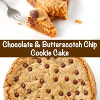 Chocolate Chip & Butterscotch Chip Cookie Cake slice on a white round plate with a fork next to it. Cookie cake whole on large white plate behind.