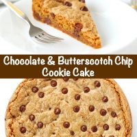 Chocolate Chip & Butterscotch Chip Cookie Cake slice on a white round plate with a fork next to it. Unsliced cookie cake on large white plate.