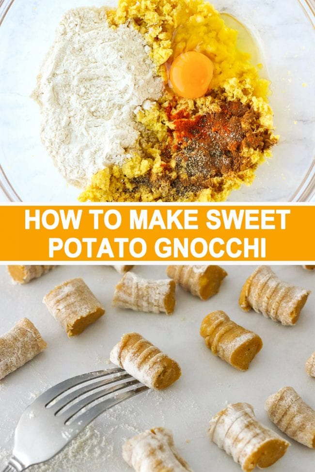 Egg, seasonings and spices, sweet potato mash, and flour in a mixing bowl, and sweet potato gnocchi piece on the tines of the back of a fork with gnocchi pieces scattered around.