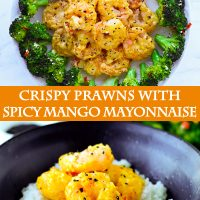 Plate lined with broccoli and mango mayonnaise coated prawns. A black bowl with white rice and mango mayonnaise coated prawns.