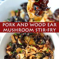 Black chopsticks holding up a sauce coated thin pork strip and wood ear mushroom above a serving bowl with pork, cucumber, and wood ear mushroom stir-fry.