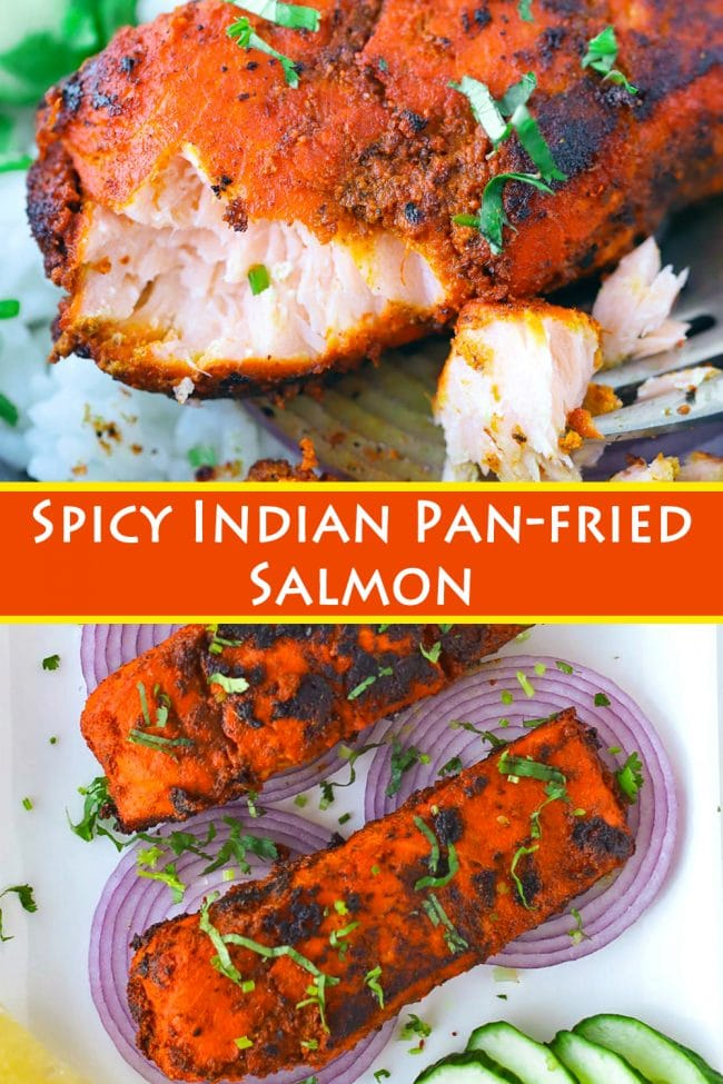 Flaked salmon bite on a fork on top of rice in a bowl, and spicy Indian salmon fillets garnished with chopped coriander on top of red onion slices on a white serving plate with cucumber slices and lemon wedges.