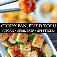 Black chopsticks holding up a fried tofu cube that's been dipped in a spicy orange sauce, and close-up view of a plate with pan-fried tofu sprinkled with chopped spring onion, chopped red chili, and toasted white sesame seeds.