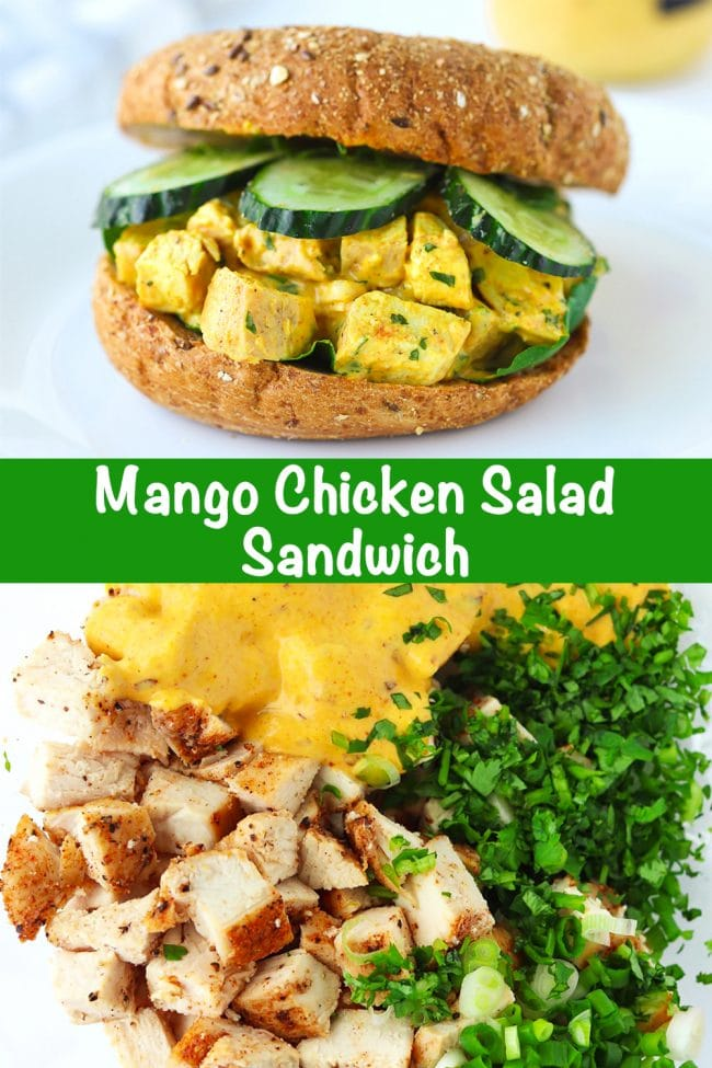 A Mango Chicken Salad Bagel Sandwich with spinach leaves and cucumber slices on a white round plate. Chopped coriander, chopped spring onion, diced baked chicken, and spicy mango mayonnaise in a mixing bowl.