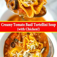 Tomato basil soup with sliced black olives, chicken, and tortellini in a bowl with a spoon and topped with grated cheese . A spoon holding up a bite with a tortellini, black olive slice, ground chicken, diced carrot, and grated cheese.