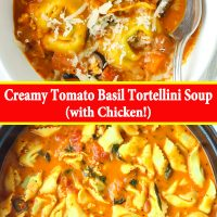 Creamy tomato basil soup with tortellini topped with grated cheese in a bowl with a spoon, and in a dutch oven.