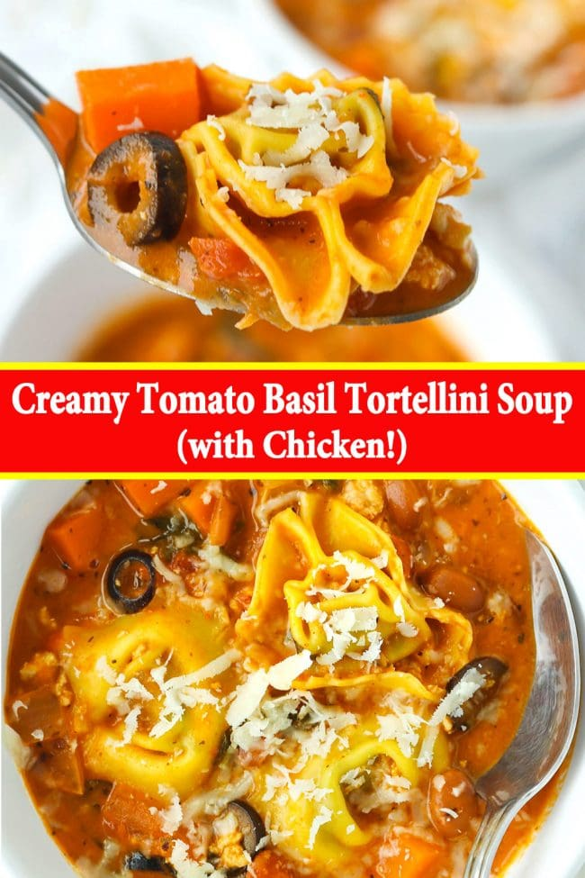 Tortellini, olive, and carrot cube and creamy tomato basil soup on silver spoon, and a bowl of creamy tomato basil soup with tortellini, beans, diced onion and carrots, and sliced olives topped with grated cheese with a silver spoon.