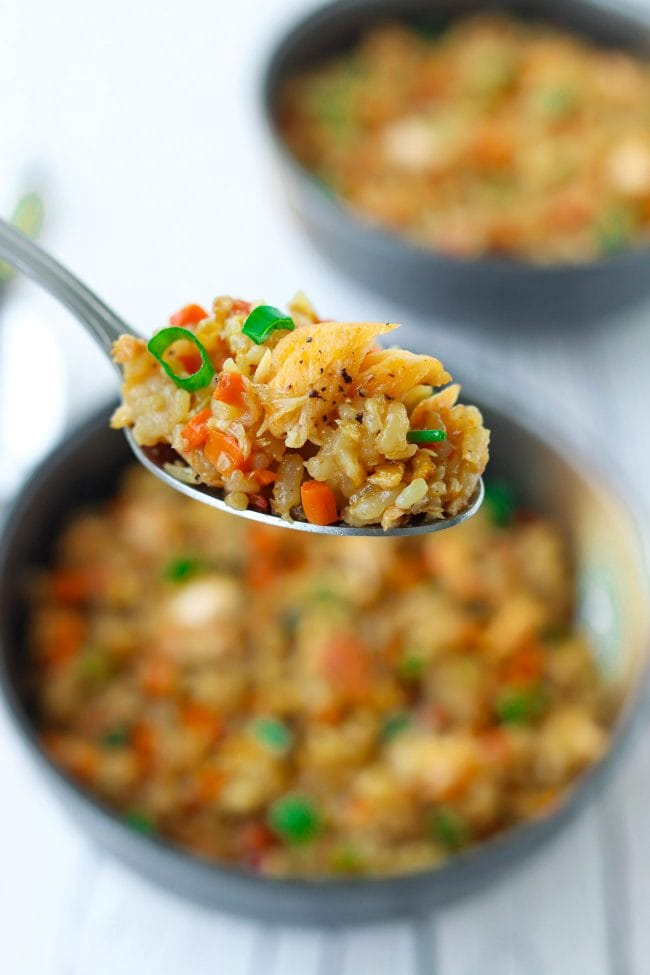 Spoon holding up a bite of salmon fried rice with chopped spring onion and carrots above a bowl of fried rice.