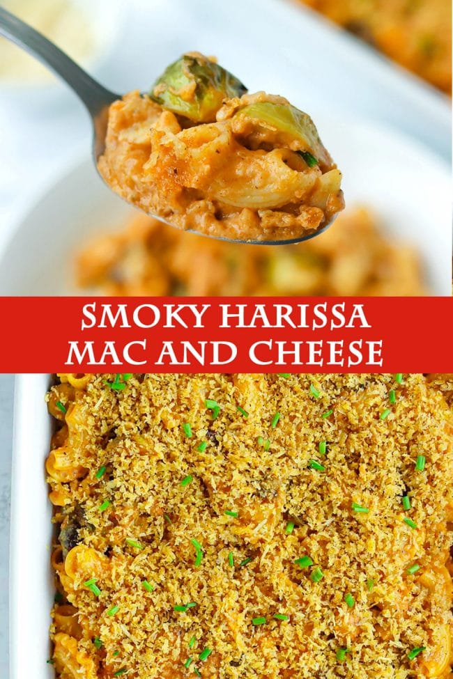 Spoon holding up a bite of harissa mac and cheese with brussels sprouts and chicken, and top view of mac and cheese in a large baking dish with a breadcrumbs topping and chopped chives garnish.