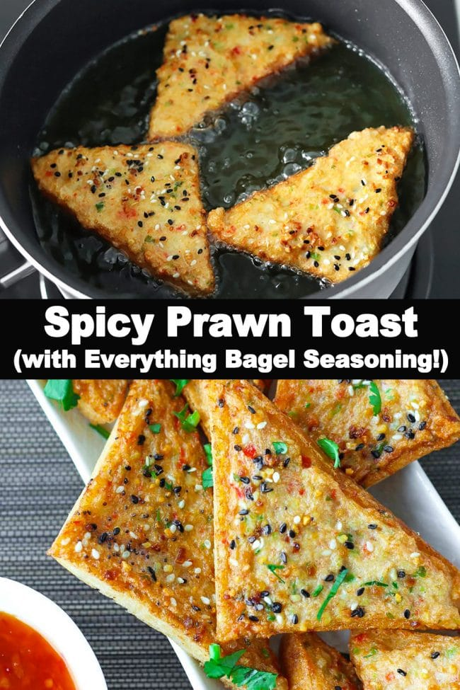 Prawn Toast triangles frying in a pot of oil, and prawn toasts on a long plate garnished with chopped coriander and served with a small bowl of Thai Sweet Chili Sauce on the side.