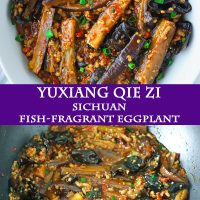 Yu Xiang Eggplant stir-fry with ground pork and cloud ear mushrooms in a round white serving bowl and in a black wok on the stovetop.