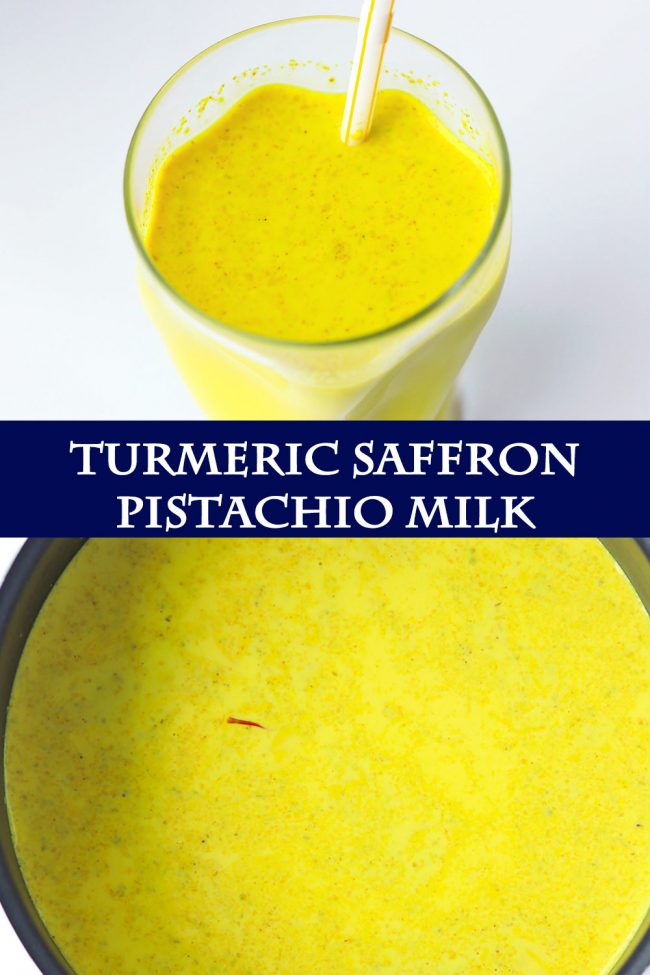 Top view of glass with yellow turmeric milk with spices in a tall fancy glass with a straw, and turmeric milk in a black saucepan.
