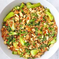 Ground pork and bok choy peanut sauce stir-fry in round white serving bowl topped with sesame seeds, chopped peanuts, coriander, and spring onion. Serving bowl with the stir-fry and bowl with peanuts in the back.