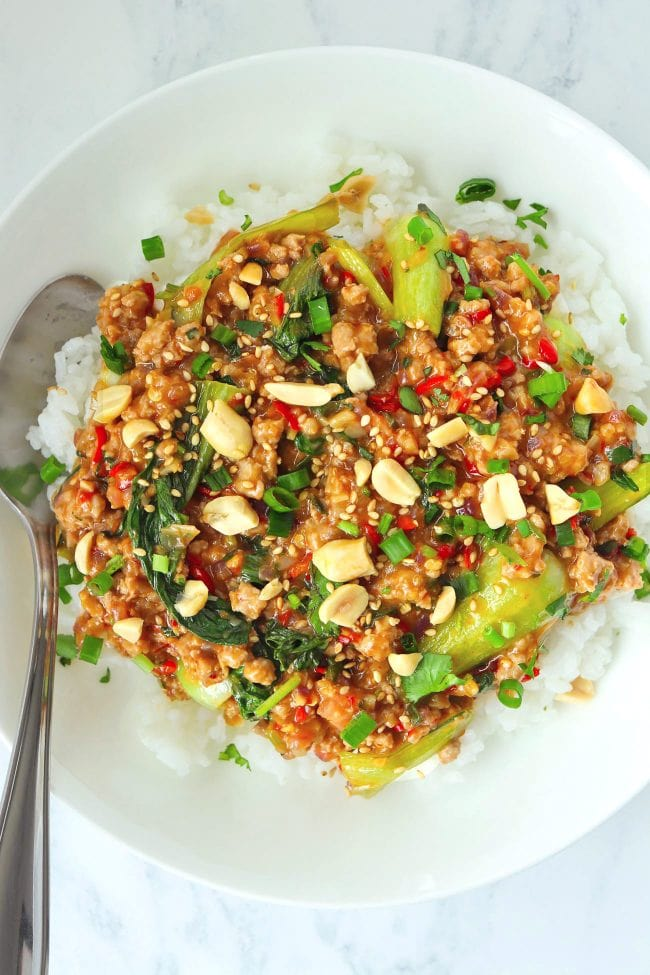 Minced pork and bok choy peanut sauce stir-fry on plate with rice and spoon, and topped with sesame seeds, chopped peanuts, coriander, and spring onion.