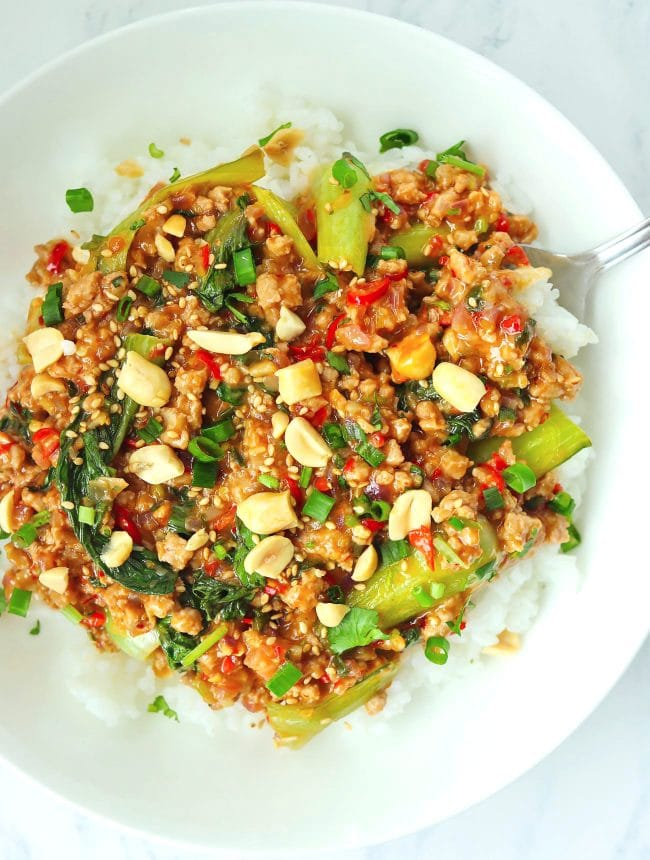 Ground pork and bok choy peanut sauce stir-fry on plate with rice and spoon, and topped with sesame seeds, chopped peanuts, coriander, and spring onion.