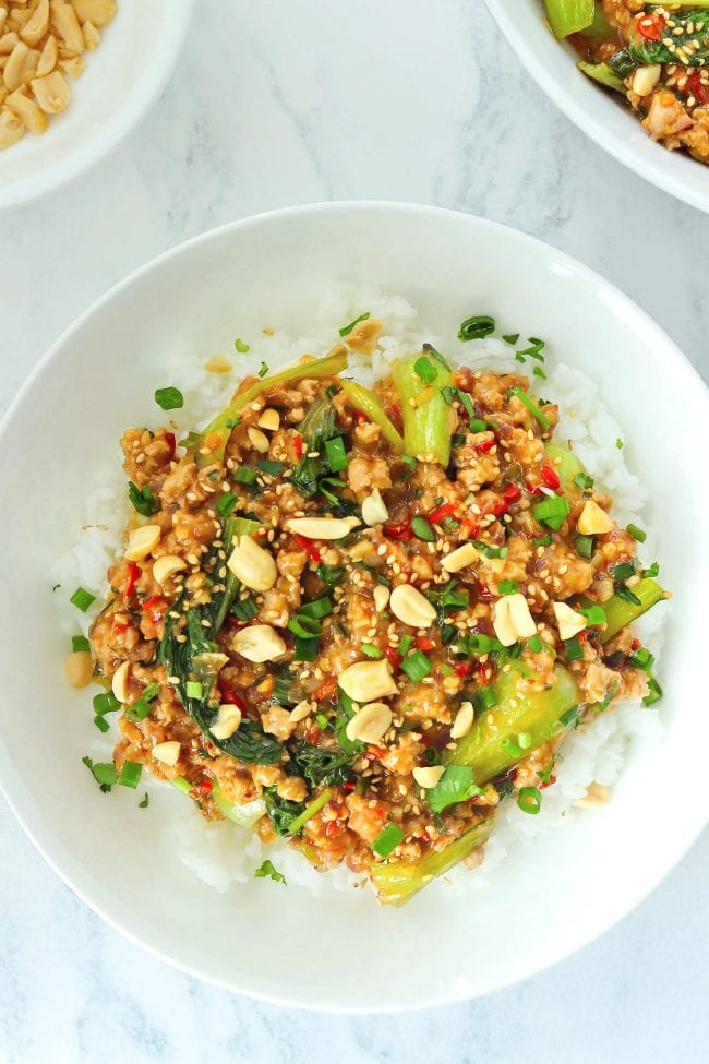 Ground pork and bok choy peanut sauce stir-fry on plate with rice topped with sesame seeds, chopped peanuts, coriander, and spring onion. Serving bowl with the stir-fry and bowl with peanuts in the back.