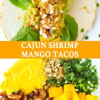 An open-faced Cajun Shrimp Mango Taco with butter lettuce and topped with toasted coconut flakes on a white background. Pan-seared cajun shrimp, cubed mango, creamy spicy mango mayonnaise, chopped coriander, spring onion, and walnuts in a large mixing bowl.