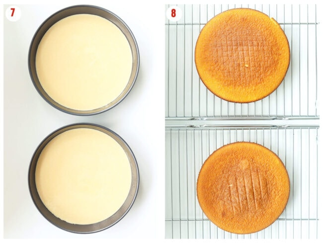 Photo collage of unbaked cake batter in two round baking pans and baked cakes on cooling racks.