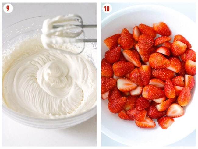 Photo collage of making whipped cream in a mixing bowl and hulled and halved fresh strawberries in a bowl.