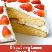 """Layer cake on a platter with a slice cut out to show inside. Text overlay """"Strawberry Lemon Cream Cake""""."""