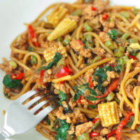 """A white round plate with a fork tucked inside spaghetti tossed in a brown sauce with basil, baby corn, green beans, chilies, onion, and garlic. Text overlay """"Thai Basil Chicken Spaghetti""""."""