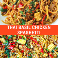 """Plate with stir-fried spaghetti, chilies, green beans, onion, ground chicken in a brown sauce and close up of the same dish in a large wok. Text overlay """"Thai Basil Chicken Spaghetti"""". Close up of work with Thai Basil Chicken Spaghetti."""