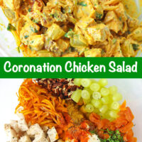 "Tossed coronation chicken salad in a large mixing bowl. Text overlay ""Coronation Chicken Salad"". Chicken salad ingredients in a mixing bowl."