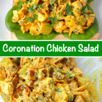 "Front view of coronation chicken salad piled on a slice of bread with lettuce. Text overlay ""Coronation Chicken Salad"". Tossed chicken salad ingredients in a mixing bowl."