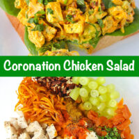 "Coronation chicken salad piled on a slice of bread with lettuce on a plate. Text overlay ""Coronation Chicken Salad"". Chicken salad ingredients in a mixing bowl."