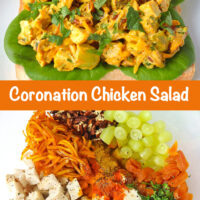 "Front view of coronation chicken salad piled on a slice of bread with lettuce on a plate. Text overlay ""Coronation Chicken Salad"". Chicken salad ingredients in a mixing bowl."