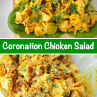 "Front view of coronation chicken salad piled on a slice of bread with lettuce on a plate. Text overlay ""Coronation Chicken Salad"". Tossed coronation chicken salad ingredients in a large mixing bowl with a spoon."