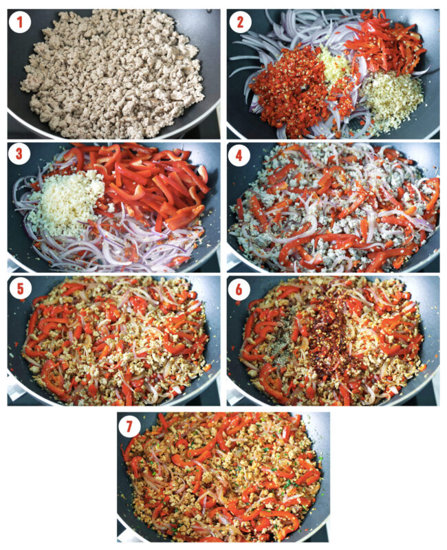 Photo collage of steps to make Lemongrass Pork Stir-fry.
