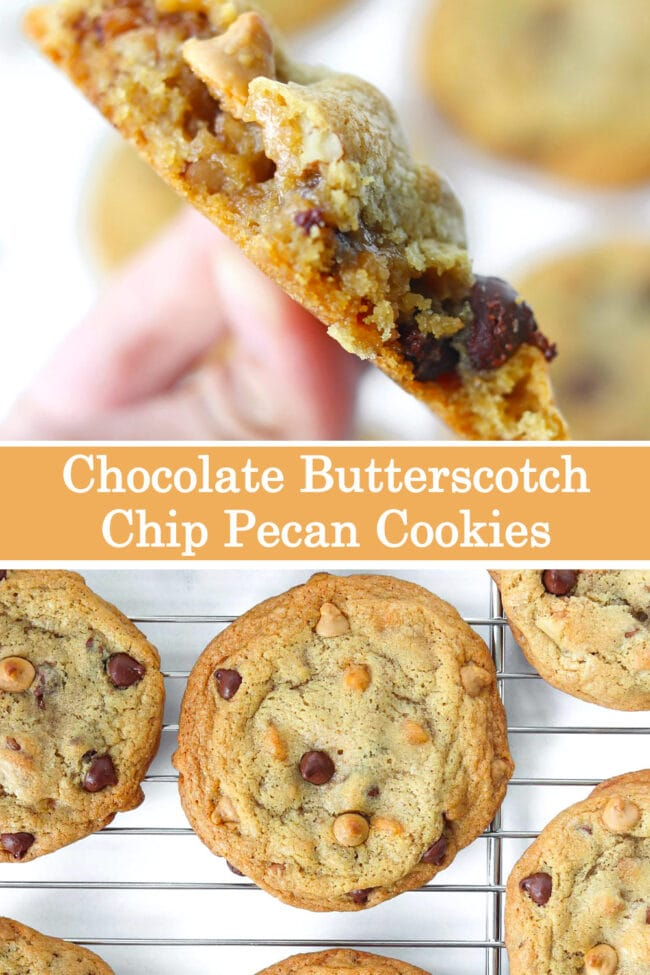 """Close up of hand holding up a cookie with a few bites taken out of it, and cookies on a cooling rack. Text overlay """"Chocolate Butterscotch Chip Pecan Cookies""""."""