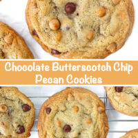 """Close up of a chocolate butterscotch chip pecan cookie on parchment paper surrounded by butterscotch chips, and cookies on a cooling rack. Text overlay """"Chocolate Butterscotch Chip Pecan Cookies""""."""