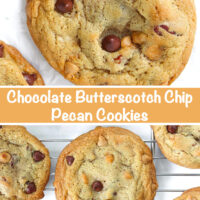 """Close up of a chocolate butterscotch chip pecan cookie on parchment paper and cookies on a cooling rack. Text overlay """"Chocolate Butterscotch Chip Pecan Cookies""""."""