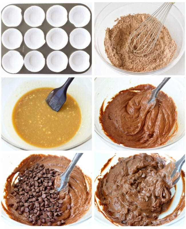 Photo collage of steps to make Double Chocolate Chip Muffins.