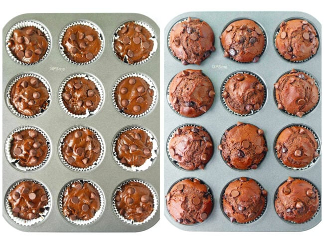 Photo collage of top view of 12-count muffin pan with unbaked and baked muffins.