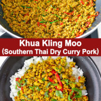 """Ground pork stir-fry in wok and on rice in bowl. Text overlay """"Khua Kling Moo (Southern Thai Dry Curry Pork)""""."""