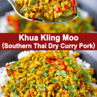 """Spoon holding up a bite of ground pork stir-fry with rice and bowl with pork and rice. Text overlay """"Khua Kling Moo (Southern Thai Dry Curry Pork)""""."""
